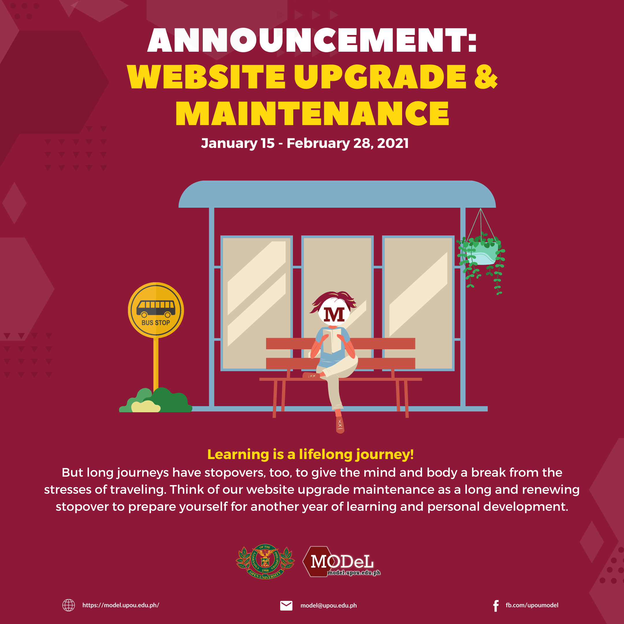 two-month website downtime starting this Friday, January 15 until February 28, 2021